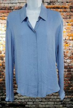 Brooks Brothers Womens Silk Long Sleeve Blouse Blue Size 14 M1