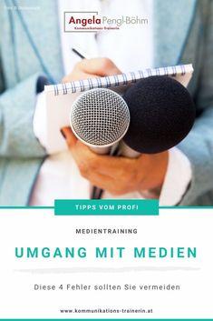 Ich habe für Sie die vier größten Fehler im Umgang mit Medien zusammengefasst. #medientraining #journalisten Mental Training, Interview, Business, Dots, Communication, Psychics, Knowledge