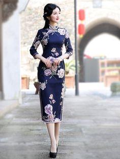 Blue Floral Tea-Length Qipao / Cheongsam Dress
