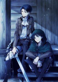 Shingeki no Kyojin - Eren x Levi, night, scouting legion