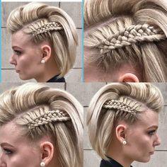 Frick'n awesome braid! diy hairstyles shorthair Frick'n awesome braid! Cool Braids, Braids For Short Hair, Cute Hairstyles For Short Hair, Box Braids Hairstyles, Amazing Braids, Viking Hairstyles, Braid Hair, Long Hair, Faux Hawk Hairstyles