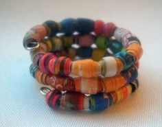❣❞ #Micro Seed #Paper Bead Wrap Finger Ring Made from Recycled Magazines --... #vintage http://etsy.me/2fKWtSA