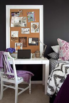 I like the desk next to the bed with the pin board leaning against the wall