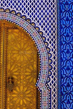Fez, Morocco. Brass door and tile work patterns are gorgeous.