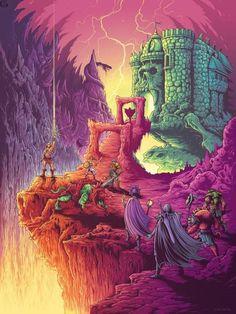 """Masters of the Universe """"By the Power of Grayskull"""" Print by Dan Mumford x Gallery 1988 Thundercats, Gi Joe, Dan Mumford, 80 Cartoons, Watch Cartoons, Sword And Sorcery, Universe Art, Classic Cartoons, Geek Art"""