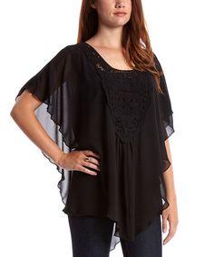Look at this #zulilyfind! Black Crocheted Cape-Sleeve Blouse by Sienna Rose #zulilyfinds