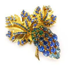 Vintage 1960s Christian Dior Blue Rhinestone Gold Plated Leaf Brooch | Clarice Jewellery