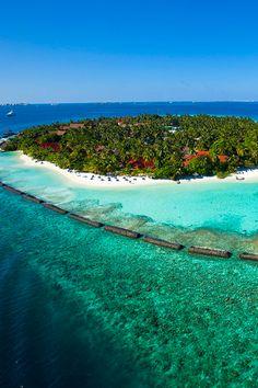 Stunning Island views of kurumba in the Maldives, surrounding lagoons and tropical marine life - http://www.puredestinations.co.uk/resort/kurumba-maldives/