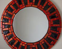 Espejo mosaico hecho a mano hermoso biselado Edge cristal rojo/negro Azulejo mosaico