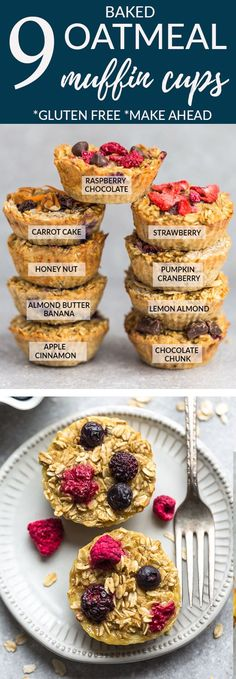 Baked oatmeal muffin cups – Refined sugar free, gluten free & vegan. Perfect make ahead breakfast. 10 Flavors - Banana Almond, Apple Cinnamon, Carrot Cake, Chocolate Chunk, Honey Nut, Lemon Poppyseed, Pineapple Coconut, Pumpkin Cranberry, Raspberry & Strawberry #breakfast #mealprep #oatmeal #portable #muffin #recipes