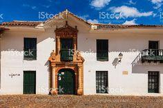 Colombia: 16th Century town of Villa de Leyva, main plaza. royalty-free stock photo