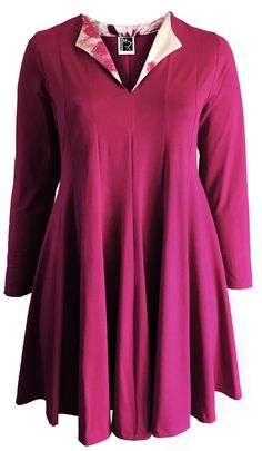 Sixteen47: Fuchsia  Crepe Jersey with contrast facing  Fluted Tunic/Dress     #plussizedress #plussizefashion #plussizedesigner #plussize #plussizeuk