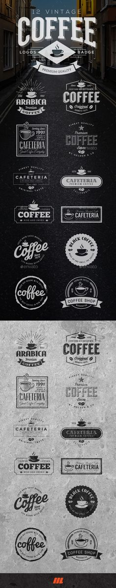 Buy 12 Retro Vintage Coffee Logo by mengloong on GraphicRiver. 12 Vintage Cafeteria / Coffee Logos This high quality, pack of 12 retro vintage badges can be used to create logo, id. Logo Design, Typography Design, Branding Design, Graphic Design, Branding Ideas, Cafe Branding, Cafe Logo, Identity Branding, Design Alphabet