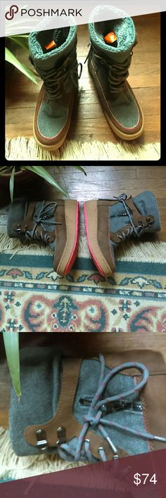 Rocket Dog Grey /Brown  Winter  Boots Rocket Dog Grey/Brown red trim and bottom Womens Winter Boots Size Us 7 Uk 4.5 Eu 37.5 these have only been eorn once so they are in like new conditon!! Its going to be getting cold soon!! Start getting orepared for the cold!! A must have for tour closet!! Rocket Dog Shoes Winter & Rain Boots