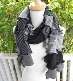 Recycled Sweater Scarf Recycled Clothing Upcycled Earth Friendly Ready to Ship Black Grey on Etsy, $35.00
