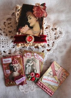 Valentine' altered matchbox + mini ATCs