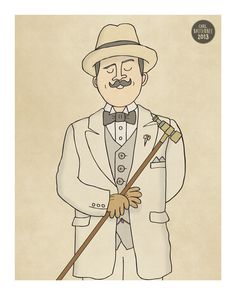 Hercule Poirot Illustration Print by CarlBatterbee on Etsy Agatha Christie's Poirot, Hercule Poirot, Detective, Family Portrait Drawing, Elementary My Dear Watson, Miss Marple, Story Books, Baker Street, Book Characters