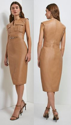 "Leather Snaffle Trim Pocket Dress. Tan Fitted Leather Dreess 2021. Karen Millen Dresses 2021. Karen Millen Leather Dress 2021. Dress in Nude Colours 2021. How to wear Nude colours 2021. Tight Fitted Leather Dress 2021. Without question the ""Nude"" Palette is one of the most popular colours to wear. A nude dress is a perfect base whether you want to make a statement, stand out from the crowd, or just simply dress appropriate. Winter Fashion Outfits, Fashion Tips, Nude Dress, Nude Color, Karen Millen, Friend Wedding, What To Wear, Bodycon Dress, Colours"