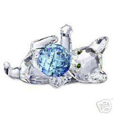 Swarovski Crystal Figurines   Swarovski Crystal Figurine #631857, Kitten Lying