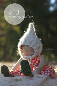 Le Fig, doll hat knitting pattern for your natural doll by Fig & me