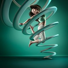 This series of images freezes a moment of time in each dancer's aerial maneuver, and turns their movements into static sculptures that represents their motion and style. Original shots were stock photography and stylized to fit within the scene, sculptures and sets created entirely CGi.