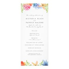 Brightly colored hand illustrated lemon tree branch design by Shelby Allison. #wedding #ceremony #programs #paradise #flower #flowers #floral #tropical #theme #beach #trendy #stylish #cute #girly #pink #blue #purple #orange #yellow #bright #brightly #colored #green #gifts #gift #ideas #for #her #girls #for #a #girl #women #womens