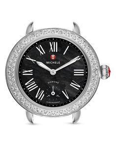 Michele Serein 12 Diamond Black Dial Watch Head, 27.5mm