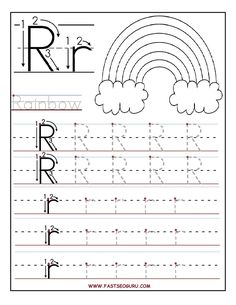 Free Printable letter R tracing worksheets for preschool. Free connect the dots alphabet printable worksheets for kids. Letter R for Rainbow worksheets Letter R Activities, Writing Practice Worksheets, Alphabet Tracing Worksheets, Printable Preschool Worksheets, Preschool Letters, Printable Letters, Kindergarten Worksheets, Worksheets For Kids, Tracing Letters