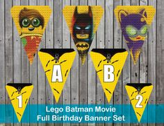 Lego Batman Movie Birthday Banner by PrintYourPackage on Etsy Lego Batman Birthday, Lego Batman Movie, Batman Party, Small Flags, Alphabet, Banner, Handmade Gifts, How To Make, Movies