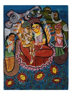 Parvati & Ganesha Kalighat Artwork