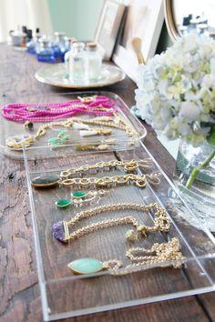 Glitter Girl: Meg Galligan of Margaret Elizabeth Jewelry in a Lucite Lux® tray Jewellery Storage, Jewellery Display, Jewelry Organization, Jewelry Box, Jewelery, Jewelry Accessories, Necklace Display, Diy Jewelry, Necklace Storage
