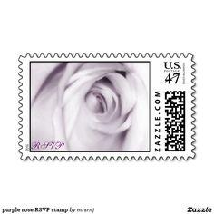 purple rose RSVP stamp