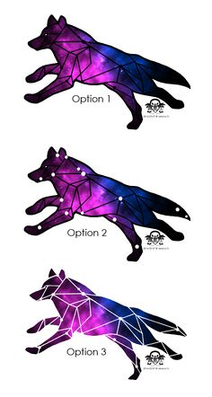 Geometric galaxy wolf tattoo design based off the actual Lupus constellation by JWo Designs. Three color options shown here.