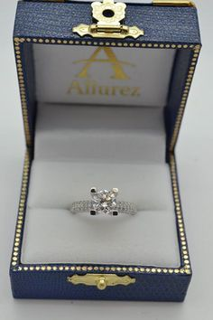 Eternity Pave Set Trio Diamond Engagement Ring 14K White Gold (0.88ct) - Allurez.com