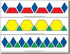 Nice series of pattern block pattern strips. Fun to recreate and extend.