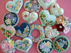 Felt Flower Applique Heart Pin by Beedeebabee on Etsy