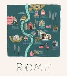 Rifle Paper Co. Rifle Paper Rome Illustrated Print 18 X 24 Rome Travel, Travel Maps, Travel Posters, Italy Travel, Travel Europe, Travel Trip, City Poster, Rome Map, Voyage Rome