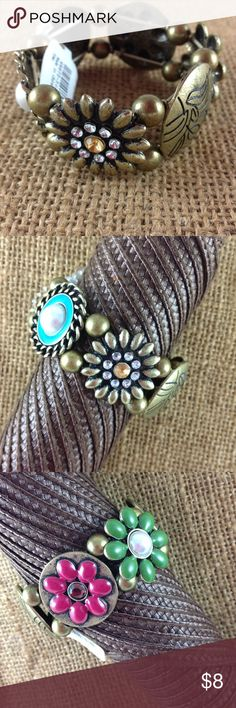 Claire's Bronze Conchos Boho Stretch Bracelet Brand new with tags! Claire's bracelet with decorative enameled and jeweled antique bronze conchos.  Really gorgeous with amazing details. Elastic stretch fit. Please ask all your questions before you purchase! I am happy to help! Sorry, no trades or holds. Please, no offers on this one. This is my lowest price! Bundle to save! Happy Poshing! Claires Jewelry Bracelets