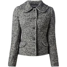 Black and white wool-alpaca blend tweed jacket from Dolce & Gabbana featuring a penny collar, a gem embellished front button fastening, long sleeves, front fla… Black Tweed Jacket, Tweed Blazer, Classy Suits, Straight Jacket, Clothing Hacks, Business Outfits, Suit Fashion, Coats For Women, Shirt Blouses