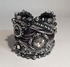 Items similar to Bead Embroidered Cuff Bracelet, Gray, Swarovski, Made to Order on Etsy