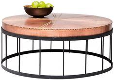 Table basse industrielle en métal & cuivre http://www.homelisty.com/table-basse-industrielle/