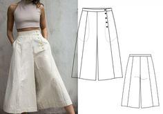 Dress Sewing Patterns, Clothing Patterns, Fashion Sewing, Diy Fashion, Fashion Pants, Fashion Outfits, Sewing Pants, Designs For Dresses, Pants For Women