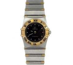 Omega Constellation Lady's Wrist Watch  Omega Constellation mini stainless and 18K yellow gold Lady's quartz wrist watch., Ref. #1370.50.  Black dial and 18K yellow gold Roman Numeral bezel,  Half gold bar bracelet. Circa  1990's.   Comes with original box and 3 extra links. Mint condition:  One year guarantee on the movement! Item Number: WOO578