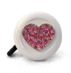 Pink Heart White Bling Bell