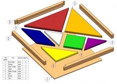 Tangram plano de puzzle - Lista de peças