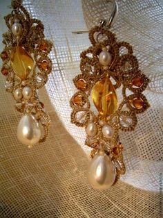 Tatted Lace Earrings Tatting Beading Fashion Jewelry Pearl Southerner by Dash Art Studio (WJ10-7)