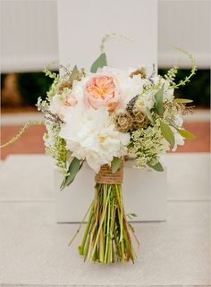 Peach/blush garden rose, white dahlias (instead of peonies), queen anne's lace, scabiosa pods, seeded eucalyptus, white/pink astilbe tendrils?
