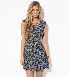 AE Crossback Kate Dress, Black | American Eagle Outfitters