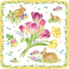 Caspari Easter Bouquet Floral Print Square Paper Salad Dessert Plates Wholesale 12290SP