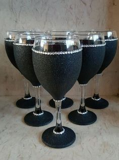6 black glitter glasses